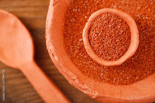 Hawaiian Red Alaea Sea Salt  in rustic clay bowls - 57984738