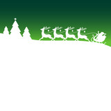 Christmas Sleigh Silent Night Green Xmas Card
