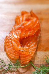 smocked salmon slices and dill