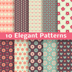 Elegant romantic vector seamless patterns (tiling). Retro