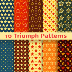 Different vector holiday triumph star shape seamless pattern