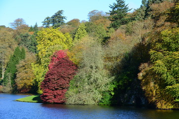 Stourhead, Lake and Trees in Autumn