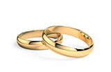 Wedding rings isolated on white , 3d render
