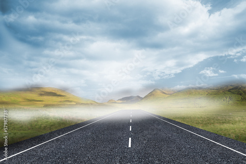 Cloudy landscape background with street