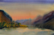Watercolor painting landscape of sunset