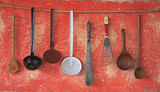 vintage kitchen utensils, cooking concept