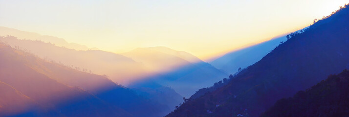Panoramic view of the sunrise in the mountains of Guatemala.