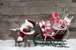 Weihnachtsmann mit Schlitten - Weihnachtskarte rot rustikal