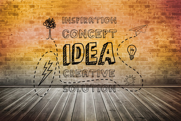 Idea graphic over brick lined wall
