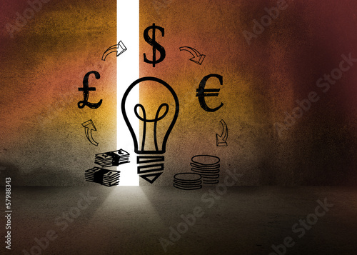 Light bulb and money in dark room