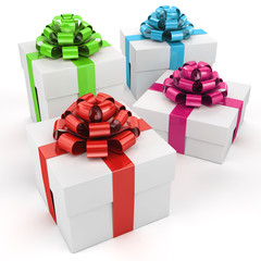 Christmas gifts isolated on white