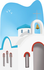 Santorini church illustration