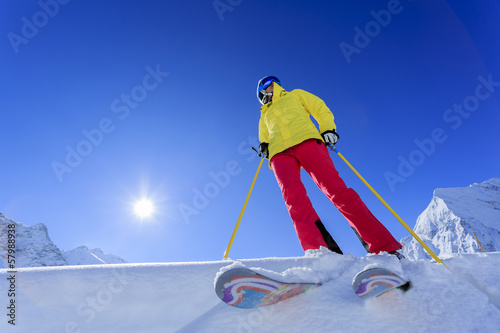 Ski, Skier, Woman - Freeride in fresh powder snow