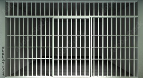 White Bar Jail Cell Front Locked