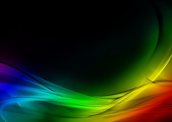 Abstract luminous rainbow and black background