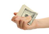 woman hand with 100 dollar bills