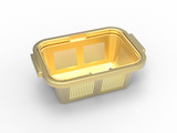 3d illustration of gold shopping basket
