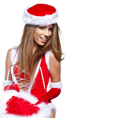 Portrait of a beautiful woman wearing a santa costume
