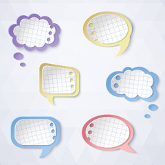 Colorful paper bubbles for speech on a light background.