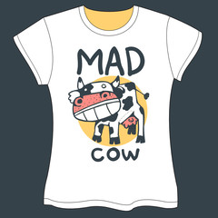 Mad Cow Vector illustration - T-shirt Template