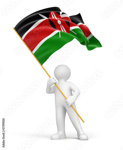 Man and Kenya flag (clipping path included)
