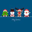 Tree, Snowman, Rudolph & Santa Gift Blue