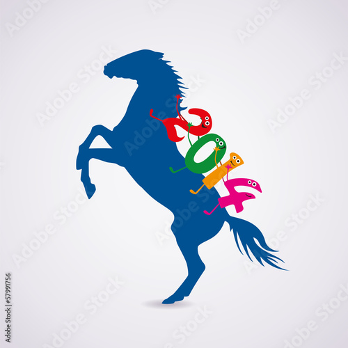 vector  horse with new year 2014 riding numbers