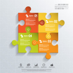Abstract 3D puzzle infographic
