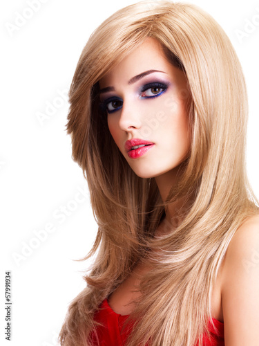 Portrait of a beautiful young woman with long white hairs