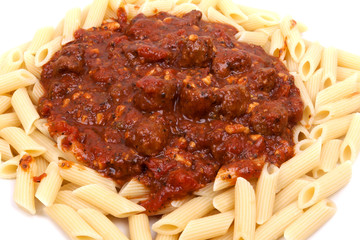 meatballs with penne pasta,