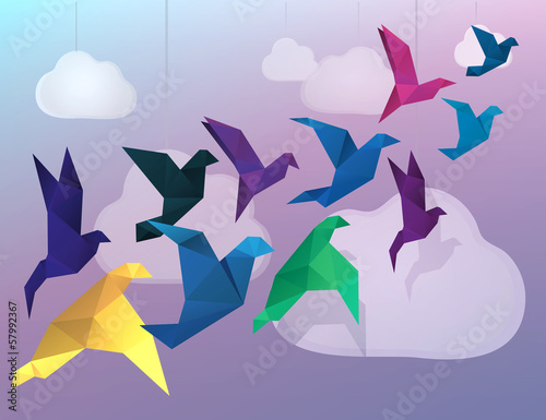 Staande foto Geometrische dieren Origami Birds flying and fake clouds background