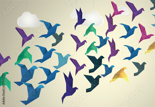 Keuken foto achterwand Geometrische dieren Origami Birds flying and fake clouds background