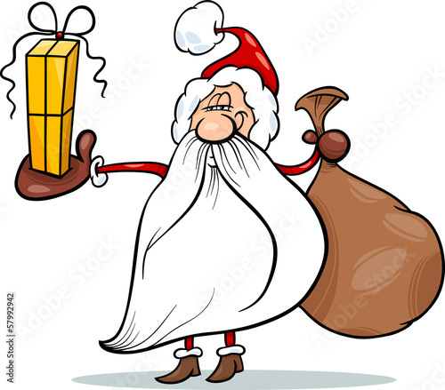 santa claus with gift cartoon illustration