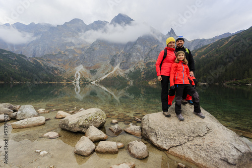 Hiking - family on mountain trek