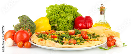 Tasty vegetarian pizza and vegetables, isolated on white