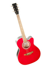 acoustic guitar, bright red. Isolation.