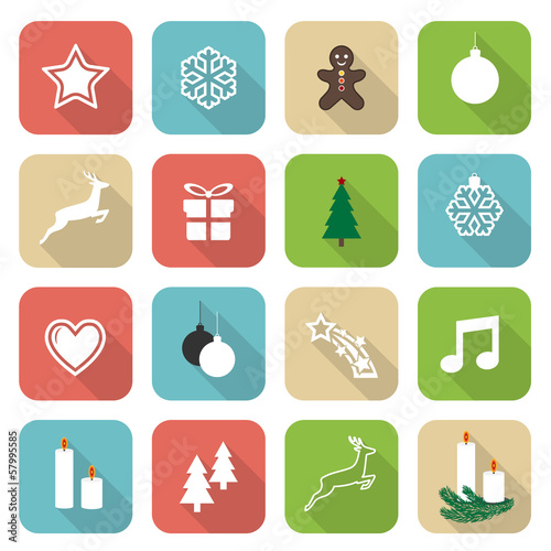 Set of web rounded flat icons – Christmas Time
