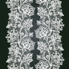Abstract lace ribbon seamless pattern with elements flowers