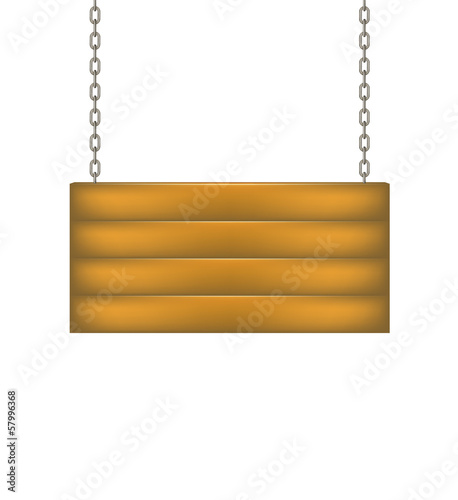 Wooden sign board hanging on chain