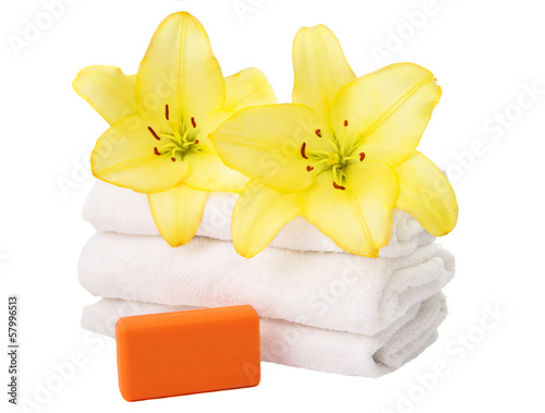 towel with lily flowers isolated