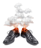 Business shoes burning hot
