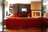 Living room with red sofa