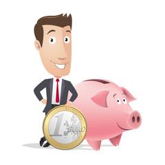 Businessman, manager - finance - piggy bank, money box