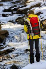 Hiking, snowshoeing - woman on hike