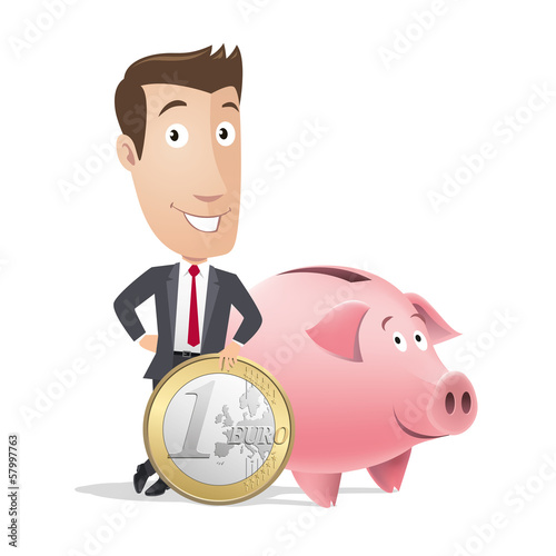 Businessman, manager - finance - piggy bank, money box