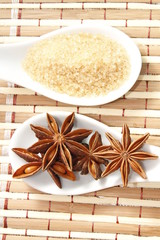 star anise and cane sugar on white ceramic spoon