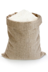 Linen sack with flour