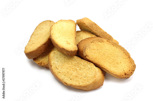 some bread crumbs on a white background