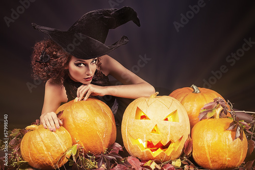 pumkins and witch