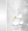 Christmas card with silver decorated balls. Vector